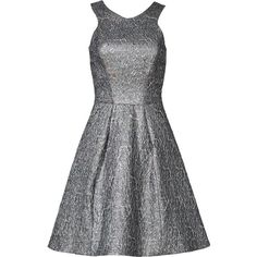 Rental Yoana Baraschi Sterling Dress ($80) ❤ liked on Polyvore featuring dresses, silver, jacquard dress, yoana baraschi dress, sleeveless dress, no sleeve dress and open back dresses