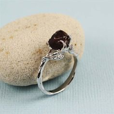 Natural Cut Garnet Twig Ring by 4FireflyCollections on Etsy, $60.00/ engagement ring to stack with wood band