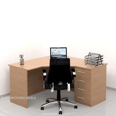 Biurko narożne SAMPI-S w kolorze buk jasny.