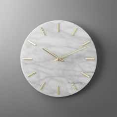 Shop carlo marble and brass wall clock. Shiny brass hands tell time on smooth, white marble. Simple, clean design indicates the hour with minimalist dashes instead of numbers. Elevates the entry or goes glam on a gallery wall. carlo marble and brass Contemporary Clocks, Modern Wall, Modern Decor, Marble Wall, White Marble, Marble Room Decor, Marble Bedroom, Gold Wall Decor, Wall Clock Rose Gold