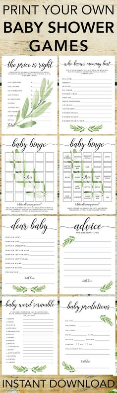 Popular baby shower games by LittleSizzle. Click through to download yours or re-pin for later! Printable games for baby shower gender neutral. Entertain large groups of guests with these gorgeous greenery printable games for baby shower. Perfect for any