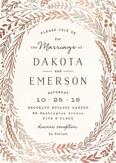 """Rustic Wreath"" - Rustic, Hand Drawn Foil-pressed Wedding Invitations in Rose Gold by Hooray Creative. http://rstyle.me/n/bv6q4zn2bn"