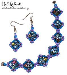 Deb Roberti's WibeDuo Tile Bracelet & Earrings Beading Needles, Beading Tutorials, Star Shape, Seed Beads, Antique Silver, Crochet Earrings, Silver Rings, Drop Earrings, Crystals