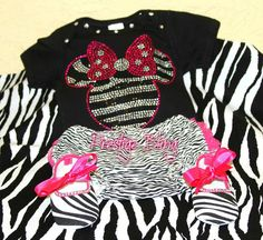 Bling Zebra Minnie Mouse baby outfit on Etsy, $65.00
