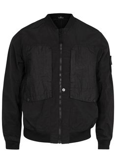 Stone Island X Shadow Project black shell bomber jacket Jacquard shell side-zipped chest pockets with adjoining press stud-fastening flap pockets, side slip pockets, zipped back pocket with adjoining press stud-fastening flap pockets, detachable designer plaque at sleeve, ribbed jersey trims, fully lined Zip fastening through front 74% polyamide, 26% silk