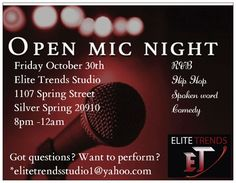 """Check out """"Open Mic Poetry Night at Elite Trends Studio"""" http://www.eventbrite.com/e/open-mic-poetry-night-at-elite-trends-studio-tickets-19202243427?utm-medium=discovery&utm-campaign=social&utm-content=attendeeshare&aff=estw&utm-source=tw&utm-term=listing @Eventbrite"""