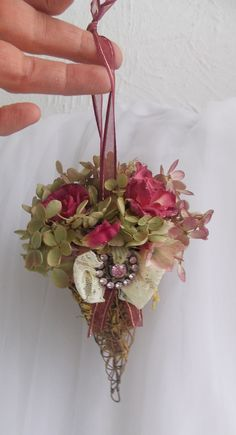 Dried silk arrangement Victorian Style rose ornament romantic