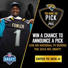 You could announce one of our 2016 ‪#‎NFLDraft‬ picks LIVE on TV!  Enter You Make the Pick presented by P&G » http://jagrs.com/pick-16