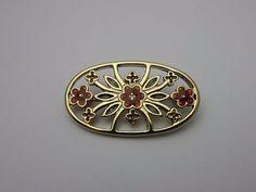 Vintage Costume Jewellery Brooch Pin Floral Open Design Orange Green Enamel Oval Fretwork Gold Tone Metal Circa 1980s