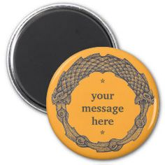Customizable Magnet OUROBOROS II orange Snake Dragon, Irish Celtic, Round Magnets, Paper Cover, Love Notes, Text Color, Orange, Office Gifts, Gifts For Dad