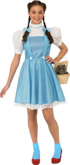 Polyester gingham print dress with an attached white blouse. Shoes and basket not included. Adult size fits sizes 14-16.