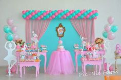 Momento Mágico Decorações : Bailarinas Especial Ballerina Birthday, Barbie Birthday, 1st Birthday Girls, 1st Birthday Parties, Kids Party Decorations, Balloon Decorations, Party Themes, Ballerina Baby Showers, Pig Party