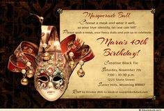Birthday party invitations free templates masquerades masquerade masquerade ball invitation black tie tux fancy dress 40th birthday filmwisefo