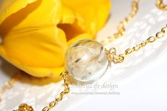 Dandelion Seed Necklace in gold, Wish Necklace, Real Dandelion Seed, Gift, Nature, Hand-made jewelry, Bridesmaid Gift, Hipster Jewelry, Best