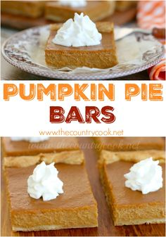 Pumpkin Pie Bars recipe from The Country Cook. Crazy easy because it uses crescent roll dough. The filling whips up in under 2 minutes. Homemade taste but so much simpler than making a pie! Easy Pumpkin Pie, Pumpkin Pie Bars, Pumpkin Dessert, Pumpkin Recipes, Fall Recipes, Pumpkin Crafts, Canned Pumpkin, Holiday Recipes, Fall Desserts