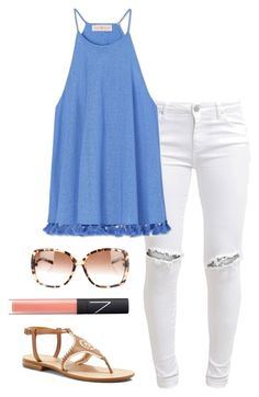 """blue top"" by helenhudson1 ❤ liked on Polyvore featuring FiveUnits, Tory Burch, Kate Spade, NARS Cosmetics and Jack Rogers"