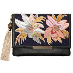 Rental Lizzie Fortunato Tahitian Floral Port of Call Clutch found on Polyvore featuring bags, handbags, clutches, accessories, leather handbag purse, real leather purses, handbags purses, man bag and hand bags