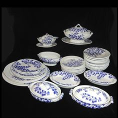 Staffordshire Childs Blue Maiden Hair Fern Dinner Set 1885 Ridgway Ironstone