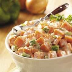 Sweet potato salad with red pepper, onion, salt, pepper in a spicy mayo dressing: I'm making it now and it looks amazing! (But I also added a little celery and cilantro)