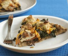 """Pizza with Caramelized Onion, Shaved Butternut and """"Goat Cheese"""" Pizza (#GrainFree, #Vegan #recipe)"""