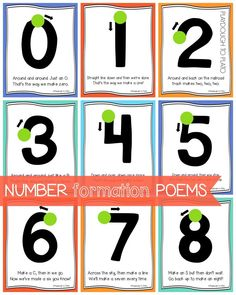 Awesome number formation poems. What a fun way to teach kids how to write numbers!!