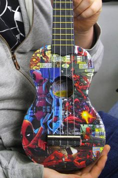 OH MY GOODNESS!!! OH MY GOODNESS!!! ITS A DEADPOOL COMIC THEMED UKULELE!!! ME WANT! ME WANT! ME WANT!  custom Ukulele by Phayisdead on Etsy, £45.00