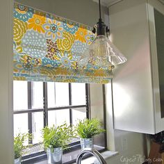 DIY Roman Shade, and option to add kitchen color if painting the door yellow rather than window wall