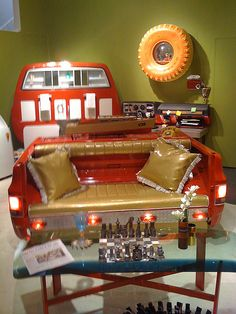 A pick-up truck bed converted into a comfy couch! Garage Furniture, Car Part Furniture, Automotive Furniture, Automotive Decor, Funky Furniture, Recycled Furniture, Handmade Furniture, Furniture Plans, Custom Furniture