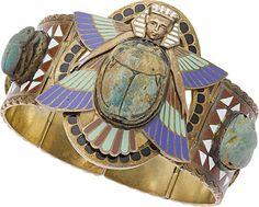 Egyptian Revival Enamel, Gold, Silver Bracelet, French. ... Estate | Lot #58480 | Heritage Auctions
