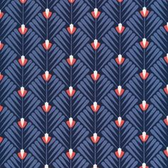 124512 Deco Petal | Navy from Wildwood by Elizabeth Olwen for Cloud9 Fabrics