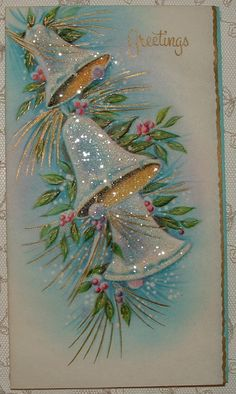 I always loved glitter Christmas cards as a child. Vintage Christmas Images, Old Christmas, Old Fashioned Christmas, Christmas Scenes, Retro Christmas, Christmas Bells, Vintage Holiday, Christmas Pictures, Christmas Greetings