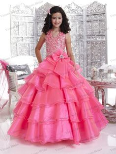 c1b0f3097ebd5 Customized Size Pink Little Girl Dress Layers Organza Ball-gown Full Beaded  Top Halter Puffy Girl Pageant Dress(China (Mainland))