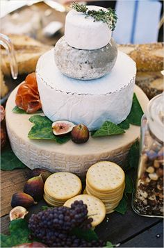 """""""Babe, come over here. No, turn off the game. No, like off.  Look at what I found on Pinterest. It's an entire wedding made of cheese... It can be our wedding. Babe?"""" Cheese Table, Cheese Platters, Food Platters, Fromage Cheese, Goat Cheese, Wheel Cake, Cheese Display, Cheddar, Cheesecake"""