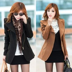 196c2178f491 Latest Fashion Trend Winter Wear Cloth For Women~Im definitely loving this  look especially the brown! I have a thing for shoulder pads.