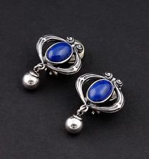GEORG JENSEN Sterling Silver Ear Clips Of The Year 2013 w. Lapis Lazuli. RARE!