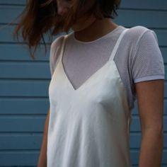 Dress: slip dress, silk, mesh top, mesh, white dress, all white everything - Wheretoget