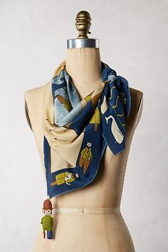 White Whale Scarf by Rumisu in Blue Motif (Anthropologie)