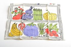 Warning: This vintage Vera tea towel contains graphic scenes involving vegetables.