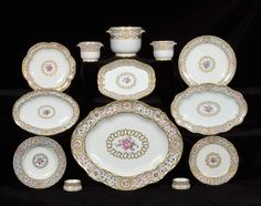 "another service made by Sevres by Marie Antoinette in 1781 called ""cartels en perles, panneaux en roses et bar beaux"". I have several pictures from this collection – I wanted you all to see the details!"