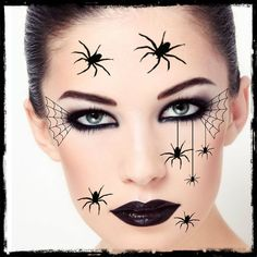 Temporary tattoo spider halloween costume face spiders fake tattoo realistic thin durable , Temporary Tattoo Spider Halloween Costume Face Spider Fake Tattoo Realistic Thin Long Lasting Happy Haunting with our scary scar tattoos. Yeux Halloween, Spider Halloween Costume, Halloween Eyes, Halloween Tattoo, Face Paint For Halloween, Skeleton Face Paint Easy, Black Widow Costume Spider, Halloween Halloween, Vintage Halloween