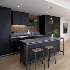 cuisine moderne armoires-noire-mat-ilot-tabourets-hauts