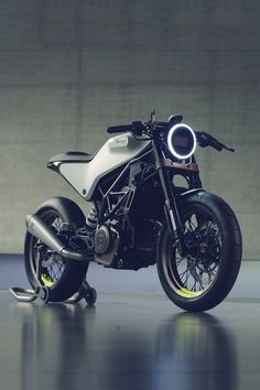 "Future perfect: this is the 401 Vit Pilen concept motorcycle. Meaning ""White Arrow,"" it's Husqvarna's vision of what a light, fast road bike should be. Based on already-available running gear, there's a high chance this machine will make it into production"