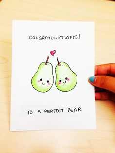 Funny wedding card, funny engagement card, cute wedding card, congratulations to a perfect pear, fruit pun card, hand drawn card by LoveNCreativity