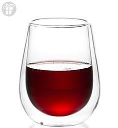 Casa Bellante (Set of 4) Double-wall Stemless Wine Glass - 10 oz. Borosilicate Glass (*Amazon Partner-Link)