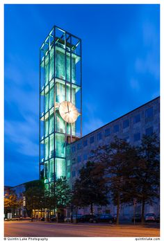 Aarhus City Hall, Clock tower at night, Denmark. Built 1941. Arc