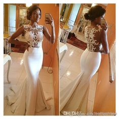 Wholesale Mermaid Prom Dresses - Buy 2014 Hot Sale Bateau Mermaid Prom Dresses Satin Appliques Sheer Lace Brush Train Formal Evening Dress Celebrity Gowns Bridesmaid Gown BO5688, $117.1 | DHgate