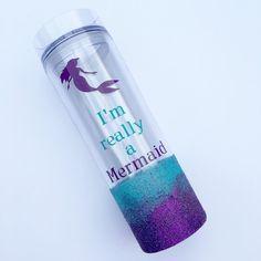 "Customized ""I'm really a Mermaid"" Tumbler - Girls - Women - Travel Mug - Water Bottle - Drink - Work - Purple & Blue - Gift Idea - Favor"