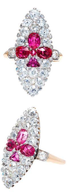 *Art Deco Natural Burma Ruby And Diamond Gold And Platinum Ring, Circa 1905.