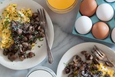 Pan Roasted Mushrooms with Scrambled Eggs | Mushroom Info