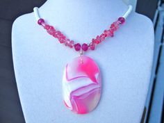 Agate Statement Necklace Hot Pink Agate Pendant by PrairieIce, $67.00